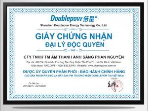 Chứng nhận đại lý phân phối độc quyền pin sạc - máy sạc pin Doublepow